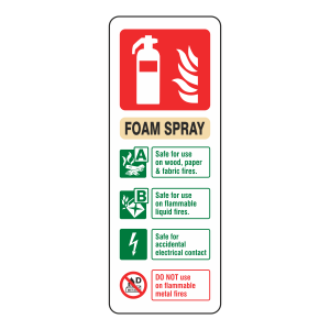 Electrical Foam Spray Extinguisher ID Sign (Portrait)