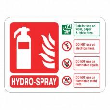 Hydro-Spray Extinguisher ID Sign (Landscape)