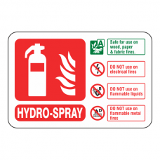 Hydro-Spray Extinguisher ID Sign (Landscape)