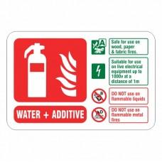 Water + Additive Extinguisher ID Sign (Landscape)