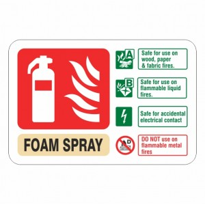 Electrical Foam Spray Extinguisher ID Sign (Landscape)