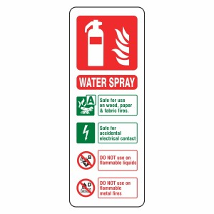 Water Spray Extinguisher ID Sign (Portrait)