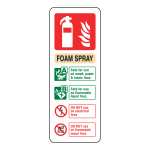 Foam Spray Extinguisher ID Sign (Portrait)