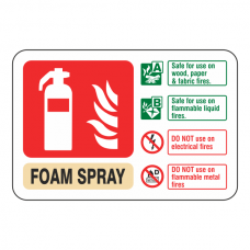 Foam Spray Extinguisher ID Sign (Landscape)