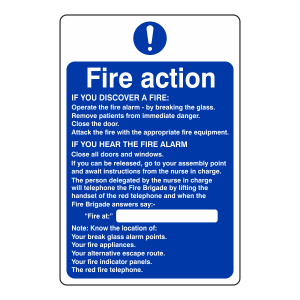 Hospital/Nursing/Warden Fire Action Sign 2