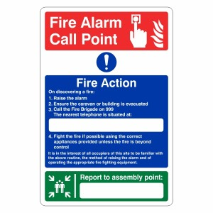 Caravan Fire Action Sign with Fire Alarm Call Point / Assembly Point