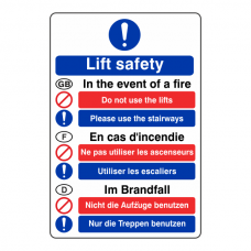 Multi Lingual Fire Action Sign 5