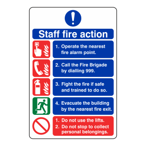 5 Point Staff Fire Action Sign - Do Not Use Lifts