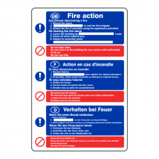 Multi Lingual Fire Action Sign 6