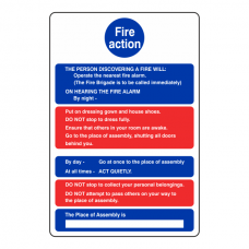 Hospital-Nursing Fire Action Instruction Sign
