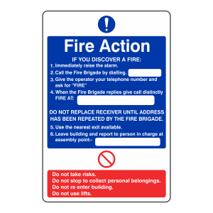 Fire Action Sign - If You Discover A Fire