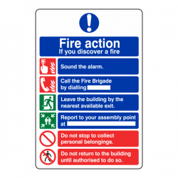 6 Point Fire Action Sign - If You Discover A Fire