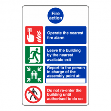 4 Point Fire Action Sign - Operate Nearest Fire Alarm