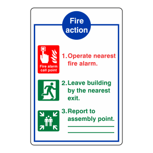 3 Point Fire Action Sign - Operate Nearest Fire Alarm