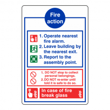 Fire Action Sign - In Case Of Fire Break Glass