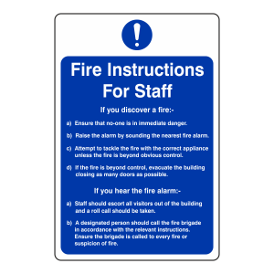 Staff Fire Action Sign 1