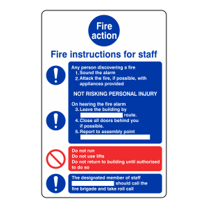 Fire Action Sign - Fire Instructions For Staff