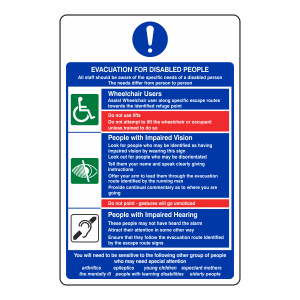 Evacuation For Disabled People Sign