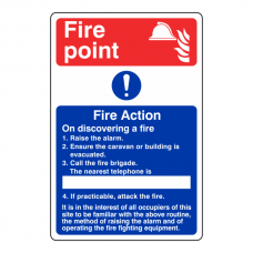 Caravan Park Fire Action Sign 1