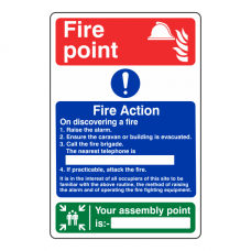 Caravan Park Fire Action Sign 2
