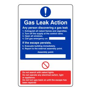 Gas Leak Action Sign