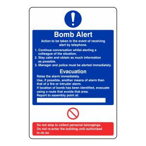 Bomb Alert Action Sign