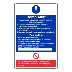 Bomb Alert Action Sign