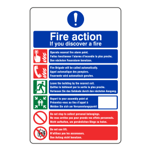 Multi Lingual Fire Action Sign 1