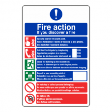 Multi Lingual Fire Action Sign 2