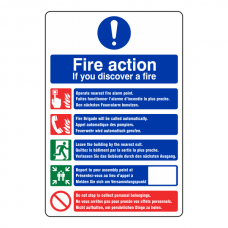 Multi Lingual Fire Action Sign 3
