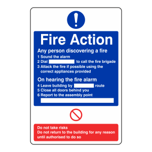 Fire Action Sign - Any Person Discovering A Fire