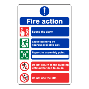 5 Point Fire Action Sign - Do Not Use Lifts