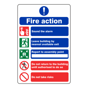 5 Point Fire Action Sign - Do Not Take Risks