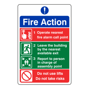 4 Point Fire Action Sign - Do Not Use Lifts