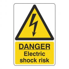 Danger Electric Shock Risk Portrait Sign