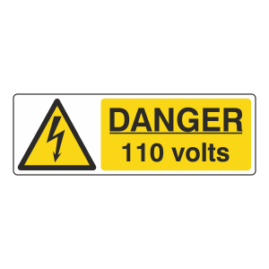 Danger 110 Volts Sign (Landscape)