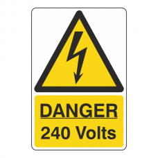 Danger 240 Volts Portrait Sign