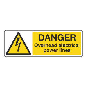Danger Overhead Electrical Power Lines Sign (Landscape)