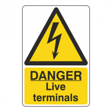 Danger Live Terminals Portrait Sign