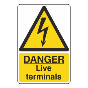 Danger Live Terminals Portrait Sign