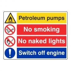 Petrol Pumps / No Smoking / Naked Lights / Engine Sign (Large Landscape)