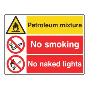 Petroleum Mixture / No Smoking / No Naked Lights Sign (Large Landscape)
