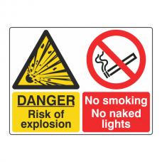 Risk Of Explosion / No Smoking Sign (Large Landscape)