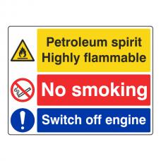 Petroleum Spirit / No Smoking / Engine Sign (Large Landscape)