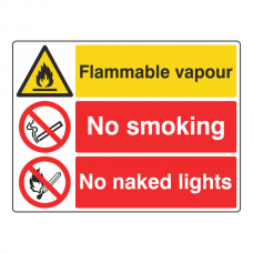 Flammable Vapour / No Smoking / No Naked Lights Sign (Large Landscape)