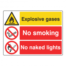 Explosive Gases / No Smoking / No Naked Lights Sign (Large Landscape)