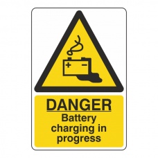 Danger Battery Charging In Progress Sign