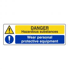 Hazardous Substances / Wear PPE Sign (Landscape)