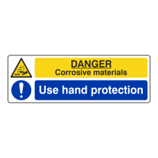 Corrosive Materials / Use Hand Protection Sign (Landscape)