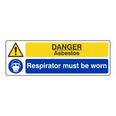 Danger Asbestos / Respirator Must Be Worn Sign (Landscape)